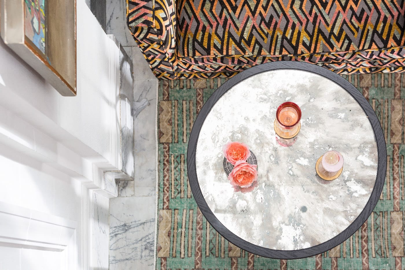 aerial shot of coffee table in San Francisco Proper lobby