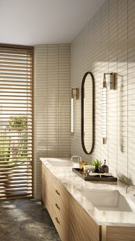 Bathroom with double sink, mirrors, tub, large rack with towels, and slatted floor to ceiling wall