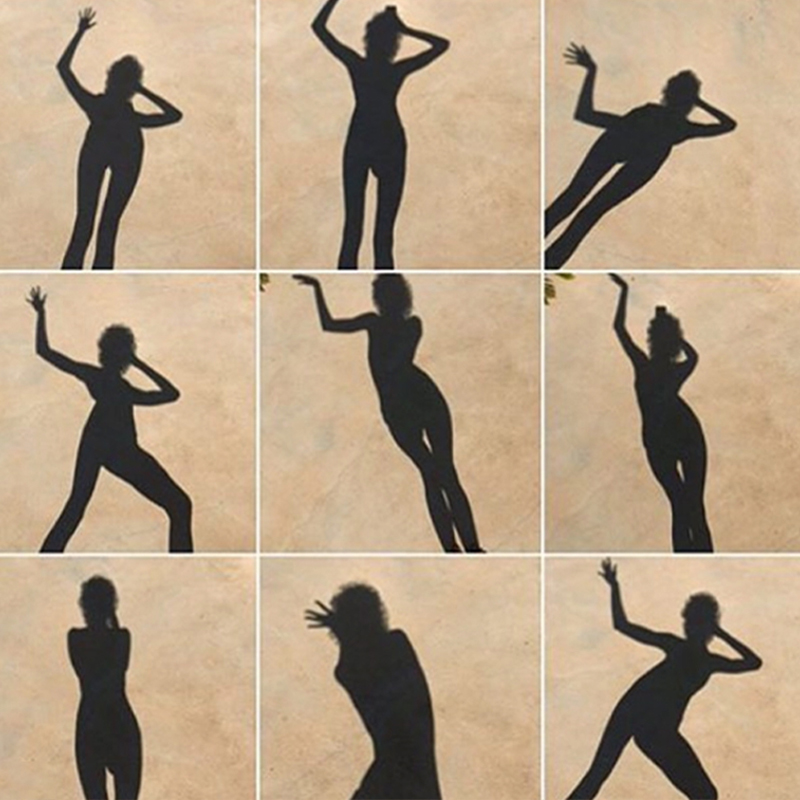 Shadow of woman in various poses arranged in a mosaic pattern