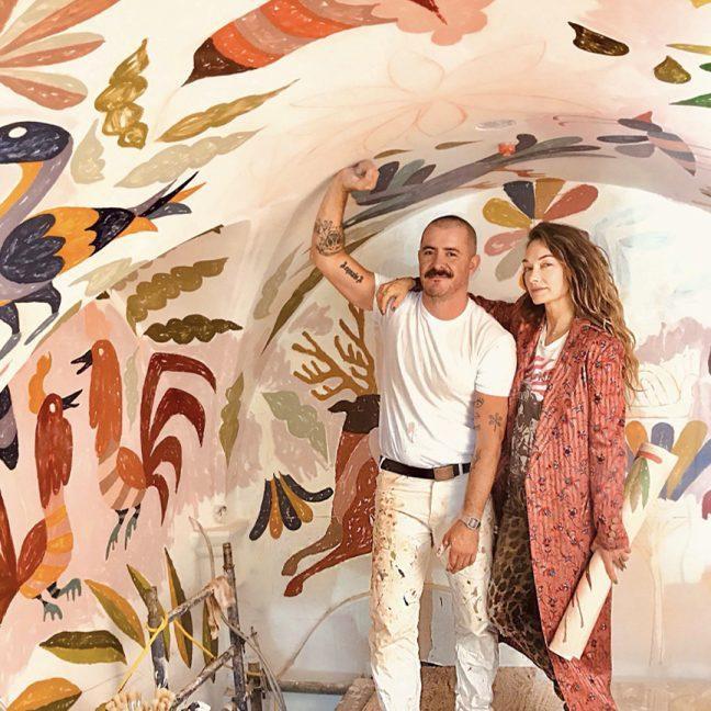 Kelly Wearstler and mural artist