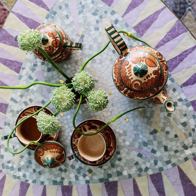 tea set on decorative table